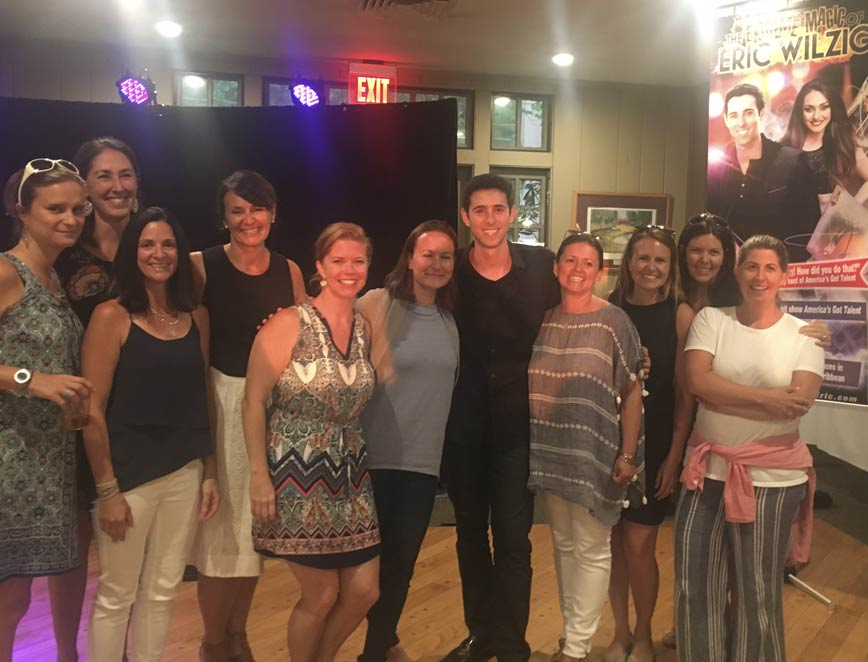 illusion show magician magic Eric Wilzig with fans adults kids teens