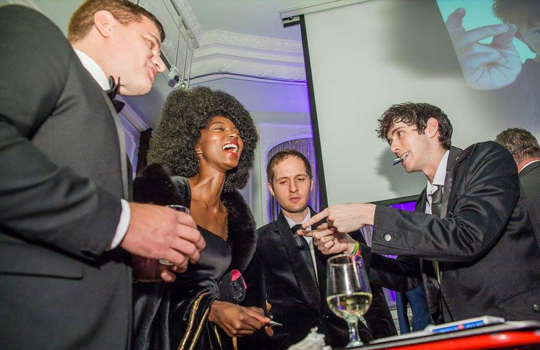 New York wedding magician engagement party Sheva brachos rehearsal dinner illusionist Eric Wilzig
