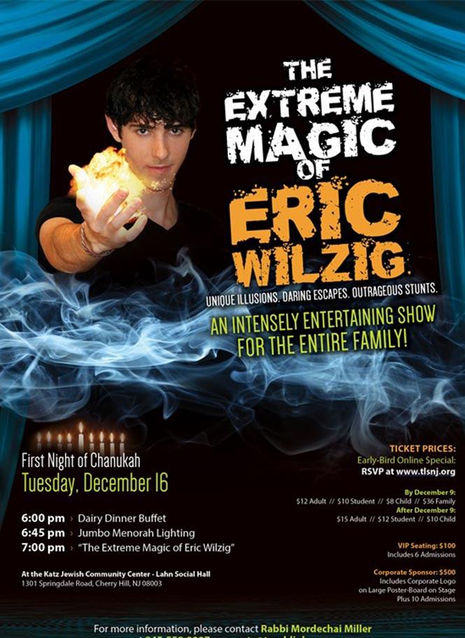 jewish chanukkah magic show magician Eric Wilzig shul pesach purim succot