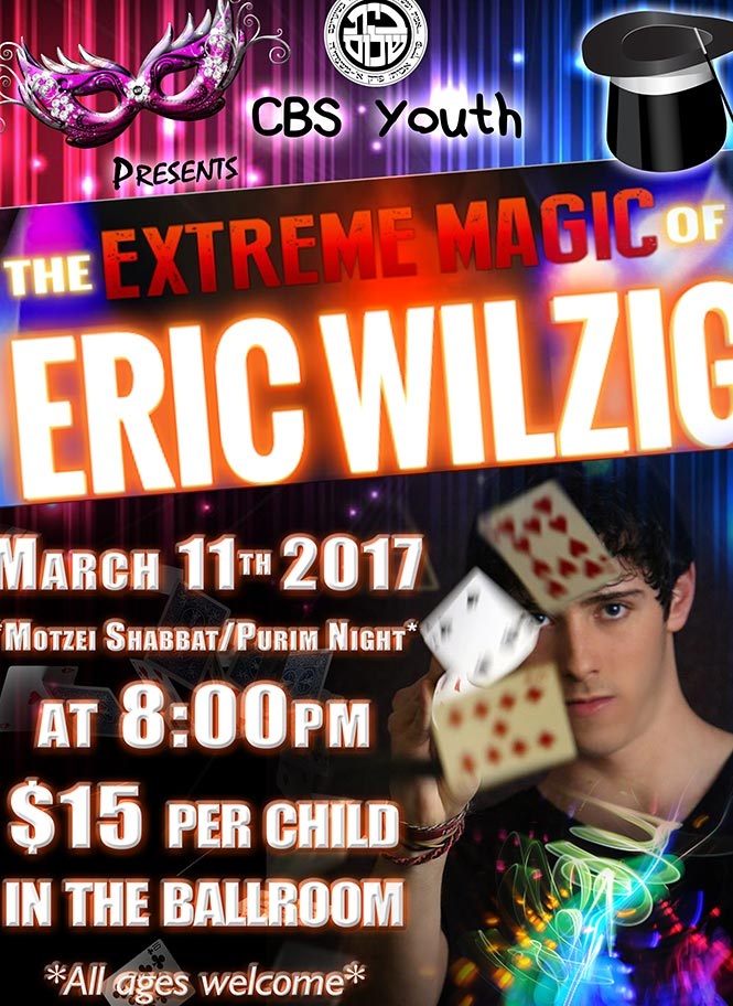 Purim holiday party magic show magician mentalist illusionist Eric Wilzig shul pesach succot